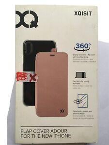 Xqisit Apple iPhone X XS Flap Adour Wallet Case Flip Wallet Folio Cover Pink