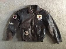 Original Mickey Mouse World Explorer Brown Leather Bomber Jacket S