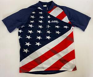 Louis Garneau Cycling Jersey Men XXL Red White Blue Flag 1/2 zip SS
