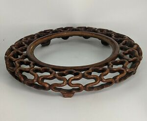 Chinese Antique Carved Large Openwork Stand - Superb Quality For Vase or Bowl
