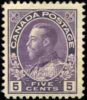 Canada #112 mint F-VF OG H DG 1922 King George V 5c violet Admiral CV$40.00