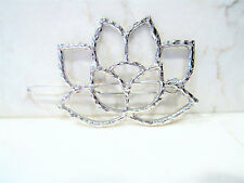 Silver flower shaped hair clip clamp  barrette snap clip