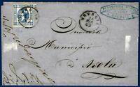 1863 - Lettera da Brescia resa franca con cent.15 VARIETA' - Sassone n.12c