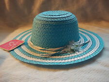 TURQUOISE EASTER HAT GIRL BONNET CHURCH FLOWER STRIPE SPRING PHOTOS NWT