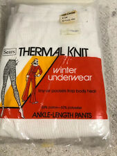Sears Thermal Knit Winter Underwear Ankle-length White Size Large Cotton Blend