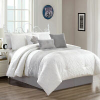 Chezmoi Collection 7-Piece Gray White Chic Floral Embroidered Comforter Set