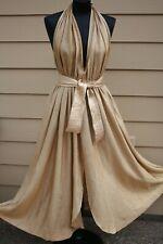 Vintage BILL TICE Gold Lame Halter Cocktail Party Dress M