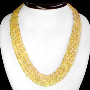 TRUELY RARE 446.00 CTS NATURAL FACETED YELLOW CITRINE BEADS NECKLACE - (DG)