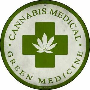 "Marijuana Leaf Green Cross 12"" Round Metal Sign Cannabis Medical Weed 420 Decor"