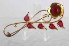 1/20 12Kt Hge Pink Crystals Flower Brooch Fashion 5044B