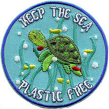 "JAC PLASTIC FREE SEA - Sew Iron on, Original Artwork - Patch - 3.5"" x 3.5"""