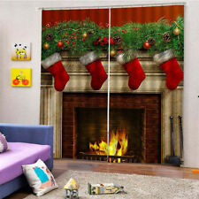 3D Blackout Curtains Fabric Panel Drapes Christmas Window Decoration Style 3