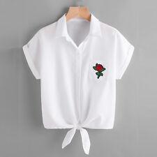 2017 Womens Short Sleeve Shirt Blouse Ladies Rose Floral Printed Short Mini Tops