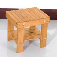 Bath Shower Stool Bathtub Spa Bench Chair Seat Bamboo Wood Foot Rest Heavy Duty