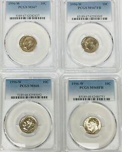 1996 W Roosevelt Dime PCGS MS67, MS67FB, MS68, MS68FB    4 Coin Set