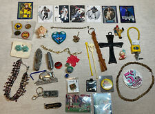 Lot 1 Junk drawerJewelry Knives Collectibles Pin Buttons Sports Cards More