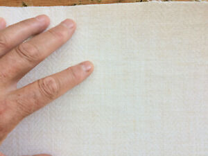 IVORY GRASSCLOTH, 4 YARDS+ UNMARKED HIGH END WALLPAPER, WOVEN COTTON THREAD
