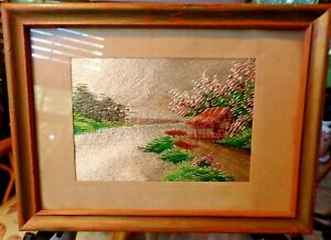 """Exquisite Antique Framed Japanese Silk Embroidery Landscape Picture 8"""" x 6"""""""