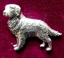Pewter Golden Flatcoat Retriever Dog Brooch Pin Quality