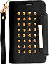 Black Rivet Wallet PU Leather Case Leopard Interior Samsung Galaxy S3 lll i9300