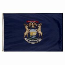 5x8 ft MICHIGAN The Wolverine State OFFICIAL STATE FLAG Outdoor Nylon USA Made