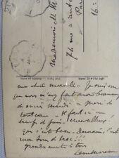 CARTE  AUTOGRAPHE SIGNE LÉON MOREAU COMPOSITEUR  1 SECOND GRAND PRIX ROME 1899