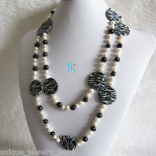 """50"""" 6-30mm White Black Freshwater Pearl Necklace"""
