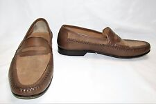 Vintage GIORGIO BRUTINI Brown Leather Tan Canvas Loafers Slip On Shoes Size 9 M