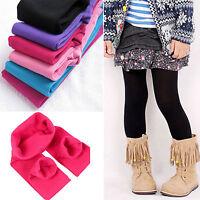 Kids Girls Winter Warm Thick Fleece Leggings  Stretch Cotton Solid Trouser Pants