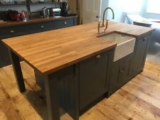 Kitchen Island Unit Handmade Solid Wood Painted with 40mm Solid Oak Top