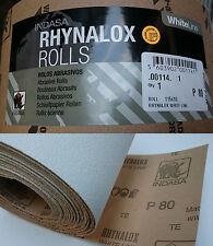 Indasa Rhynalox Whiteline Dry Sand Paper 5m Roll P80 Grit Abrasive Sanding