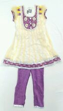 For Kids Girls Indian Pakistan Purple Gold Churidar Anarkali Suit Dress 22 3/4