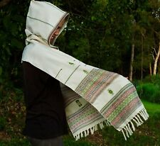 Handmade White Hooded Scarf with Hood Cashmere Light Wool, Hoodie Earthy Tribal