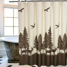 Wildlife Shower Curtain Deer Bathroom Accessories Rustic Unique Fabric Curtains