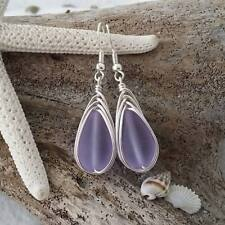 "Handmade in Hawaii, Wire braid ""Magical Color Changing"" Purple sea glass earring"
