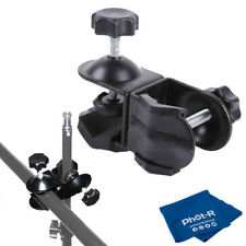 Phot-R Double Dual C-Clamp Clip Light Stand Boom Arm Reflector Microfibre Cloth