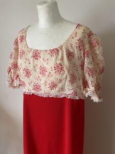 Vintage 1970s Ladies Long Dress Red & Cream Regency Style Retro