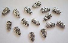 15 Metal Dark Antique Silver Owl Spacer Beads - 10mm