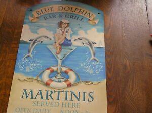 "Colorful FUN!! BLUE DOLPHIN BAR & GRILL Metal Pub Sign 9.25""x15.25"" Martinis"
