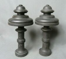 Pair of French Antique black wooden finials for curtain decoration Napoleon III