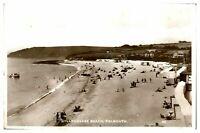 Antique RPPC postcard Gyllyngvase Beach Falmouth real photograph
