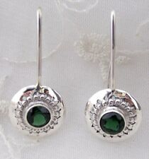 925 Sterling Silver Emerald Green Quartz long Hook Drop Earrings Jewelry NEW