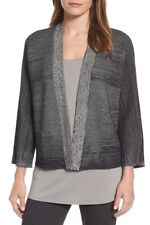 NEW Eileen Fisher Textured Silk & Organic Cotton Cardigan in Black - Size PL