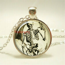 Skeleton Necklace  Halloween Pendant Gothic glass crystal Silver Plate Jewelry !