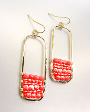 Rectangle Coral Beads Dangle Earrings Unique Artisanal Urban Anthropologie Gold