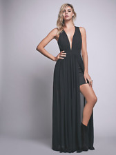 NEW Free People Athea Drape Maxi Black Chiffon Dress Grecian Gown $250 L