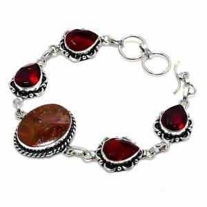 """Seam Agate, Red Garnet Gemstone Handmade Ethnic Gift Bracelet 7-8"""" I732"""