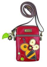 Burgundy Faux Leather Crossbody Chala Cell Phone Wallet Clutch Purse Handbag-Bee