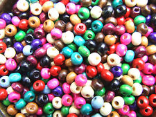 800 Wooden Beads 5-8 mm Round Mixed Colours Assorted Red Green Blue Yellow Cream