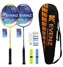 KEVENZ Badminton Racket Set, 2 Carbon Fiber Badminton Racquet, 3 Goose Feather B